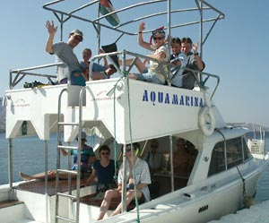 Aqaba MPP Snorkelers on Boat - Still Tied to Dock