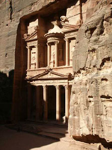 The Treasury at Petra with new excavations beneath the grate at the entrance