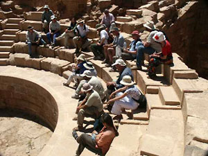 The Theatron at the Great Temple in Petra, with Artemis Joukowsky explaining things