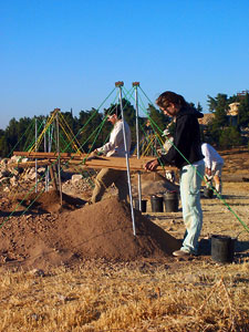Steve Salcido and Christina Widmer sifting along a long line of sifts for Fields A and H