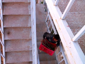 Khaled packing a crate of supplies up the fire-escape stairs to the storeroom (photo courtesy Denise Herr)