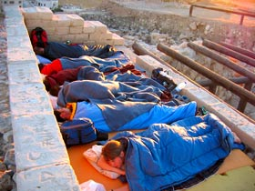 Six of the seven sleeping beauties on the roof of the partially reconstructed four-room house – Kent Bramlett (taking the photo), Katie Van Petten, Boris Brajnikoff, Lindsey Hill, Monique Acosta, Janelle Worthington and Matt Vincent (photo courtesy Kent Bramlett)
